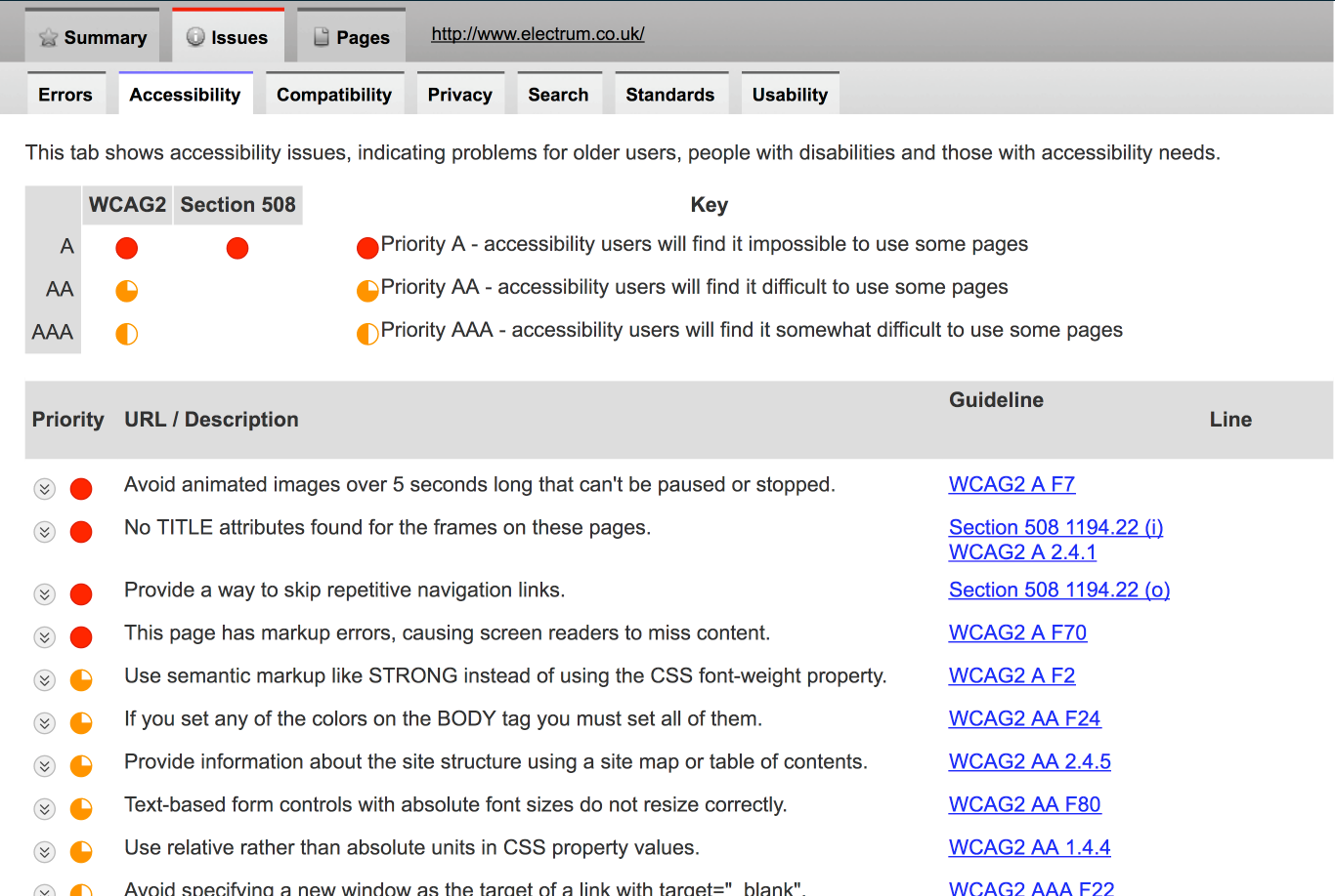 A screen grab of the SortSite accessibility report tab